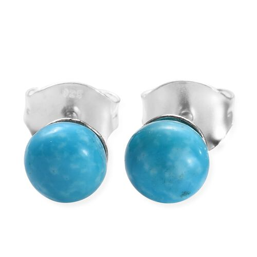 Arizona Sleeping Beauty Turquoise (Rnd) Ball Studs Earrings (with Push Back) in Sterling Silver 1.250 Ct.
