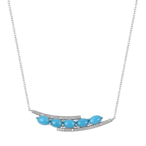 Arizona Sleeping Beauty Turquoise (Ovl), Natural White Cambodian Zircon Necklace (Size 18) in Rhodium Overlay Sterling Silver 2.050 Ct.