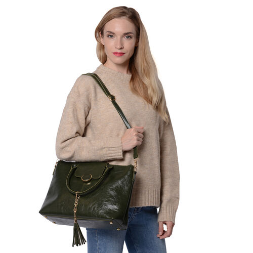 Solid Green Tote Bag (35x12x26cm) with Adjustable Shoulder Strap and Tassel