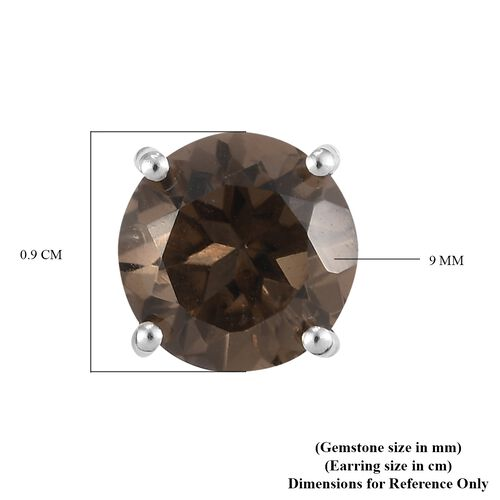 Smoky Quartz Stud Earrings (with Push Back) in Platinum Overlay Sterling Silver 5.20 Ct