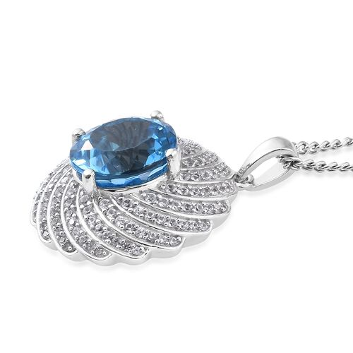 TJC Launch - Marambaia Topaz (Rnd 10.35 Ct), Natural Cambodian Zircon Pendant with Chain (Size 18) in Platinum Overlay Sterling Silver 11.750 Ct. Silver wt 9.13 Gms. Number of Gemstone 137