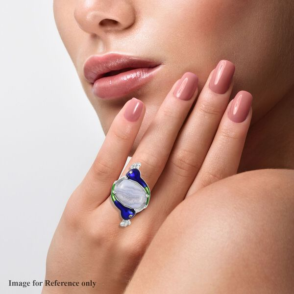 Blue Lace Agate Peacock Ring in Silver Tone 6.00 Ct.