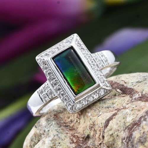 Canadian Ammolite (Bgt 10x5mm), Natural Cambodian Zircon Ring in Platinum Overlay Sterling Silver 1.500 Ct.