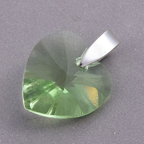 J Francis Crystal from Swarovski - Large Peridot Colour Crystal (Hrt) Pendant in Platinum Overlay Sterling Silver