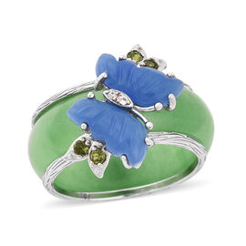 Set of 2 20.67 Ct Green and Blue Jade and Multi Gemstone Butterfly Ring in Rhodium Plated Silver