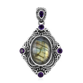 Royal Bali Collection Labradorite (Ovl 20x15 mm), Amethyst Pendant in Sterling Silver 19.342 Ct, Sil