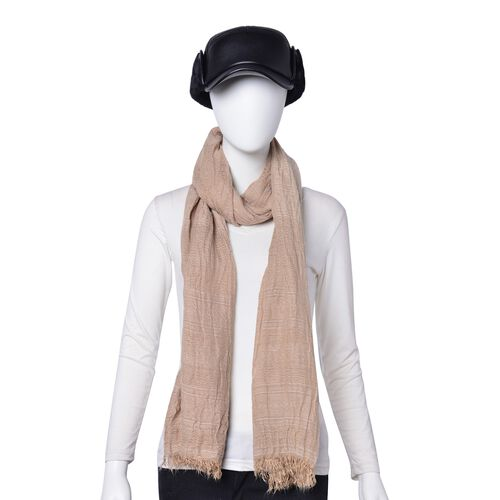 Brown Colour Scarf (Size 200X62 Cm) with Free Black Colour Hat