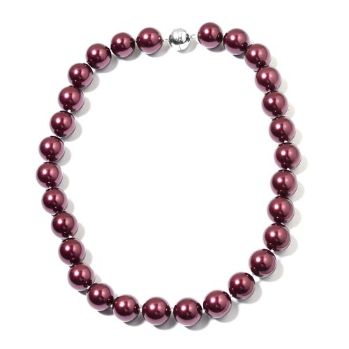 Burgundy Shell Pearl Ball (15-17mm) Necklace (Size 20) with Magnetic Clasp in Rhodium Plated Sterling Silver