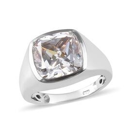 TJC Launch- J Francis Mens Ring- Platinum Overlay Sterling Silver (Cush) Solitaire Ring Made with SW