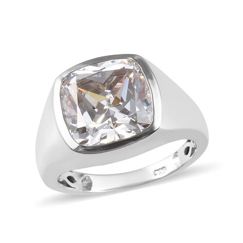 J Francis Made with SWAROVSKI ZIRCONIA Solitaire Mens Ring Platinum Plated Sterling Silver