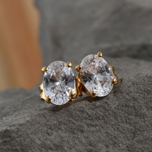 J Francis - 14K Gold Overlay Sterling Silver (Ovl) Stud Earrings (with Push Back) Made with SWAROVSKI ZIRCONIA 2.20 Ct.