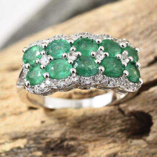 AA Kagem Zambian Emerald (Ovl), Natural Cambodian Zircon Ring in Platinum Overlay Sterling Silver 2.000 Ct.
