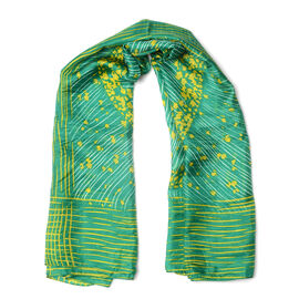 100% Mulberry Silk Green and Yellow Colour Scarf (Size 100x100 Cm)