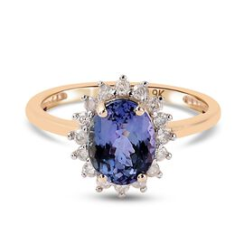 Monster Deal- 9K Yellow Gold Peacock Tanzanite and Diamond Ring 2.300 Ct.