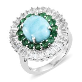 Larimar (Ovl 5.25 Ct), Brazilian Emerald and White Topaz Ring in Platinum Overlay Sterling Silver 9.500 Ct. Silver wt 6.36 Gms.