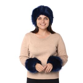 2 Piece Set - Faux Fur Headband (Size 10.2x55.9 Cm) and Wrist Warmer (Size 10.2x20.3 Cm) - Black