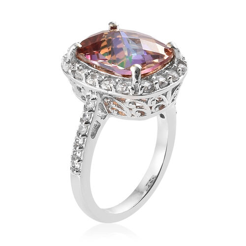 Northern Lights Ecstacy Topaz (Cush 5.65 Ct), Natural Cambodian Zircon Ring in Platinum Overlay Sterling Silver 6.750 Ct.