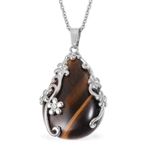 Designer Inspired-  2 Piece Set - Tigers Eye (Very Rare Size Pear 42x29mm 55 Cts), White Austrian Crystal Pendant with Chain (Size 20) and Lever Back Earrings 70.300 Ct