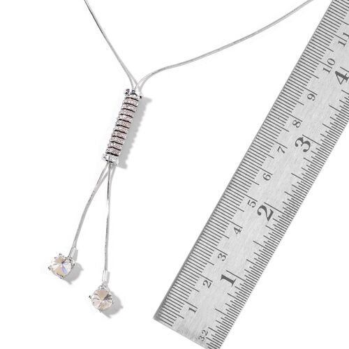 Designer Inspired-AAA White Austrian Crystal Adjustable Lariat Necklace (Size 16-32) with Cylinder Charm Silver Plated