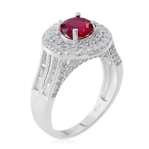 Designer Inspired - African Ruby (Rnd), Natural White Cambodian Zircon Ring in Rhodium Plated Sterling Silver 4.750 Ct. Silver wt. 5.50 Gms.
