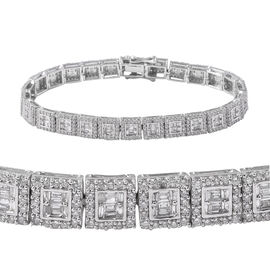 Close Out Deal- 14K White Gold SGL Certified Diamond (I1-I2/GH) (Bgt) Bracelet (Size 7.5) 5.00 Ct, G
