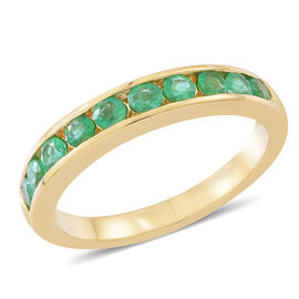 Exclusive Edition- ILIANA 18K Yellow Gold AAAA Kagem Zambian Emerald (Rnd) Half Eternity Band Ring 1.150 Ct. Gold Wt. 4.60 Grams