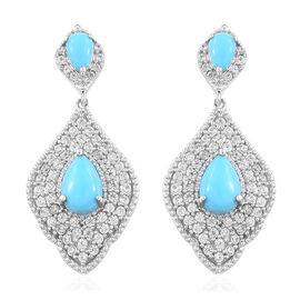 6 Ct Sleeping Beauty Turquoise and Cambodian Zircon Drop Earrings in Sterling Silver 8.45 Grams