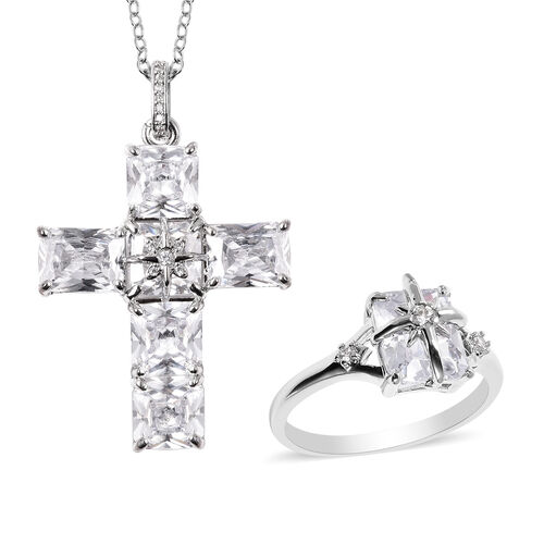 2 Piece Set - Simulated Diamond Ring and Cross Pendant with Chain (Size 20 with 3 inch Ext.) in Silv