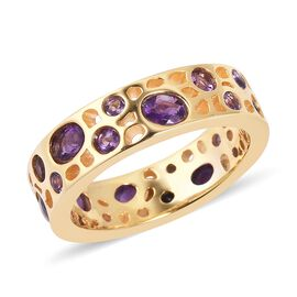 RACHEL GALLEY Amethyst (Ovl and Rnd) Ring in Yellow Gold Overlay Sterling Silver 1.680 Ct, Silver wt