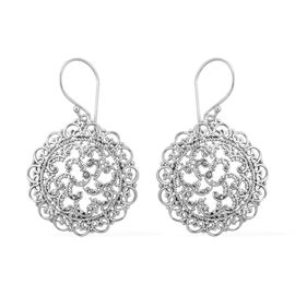 Designer Inspired- Sterling Silver Filigree Design Hook Earrings, Silver wt 4.67 Gms.