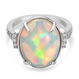 RHAPSODY 950 Platinum AAAA  Ethiopian Welo Opal and Diamond Ring 5.60 Ct, Platinum wt 6.68 Gms