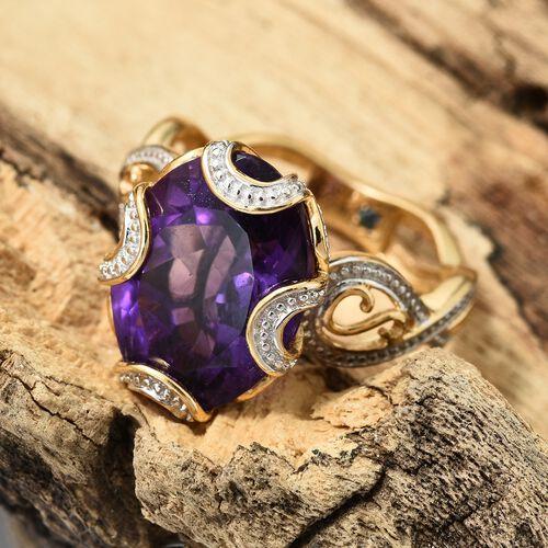 GP Amethyst (Ovl), Kanchanaburi Blue Sapphire Ring in 14K Gold Overlay Sterling Silver 8.270 Ct.