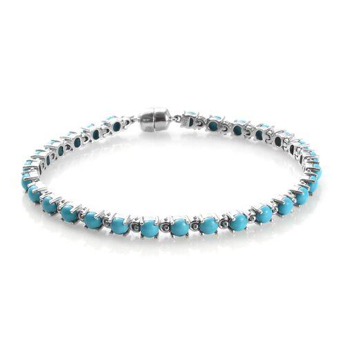 Arizona Sleeping Beauty Turquoise (Rnd) Bracelet (Size 7.5) in Platinum Overlay Sterling Silver 8.25