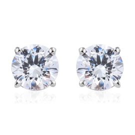 J Francis - Platinum Overlay Sterling Silver (Rnd 7.5 mm) Stud Earrings (with Push Back) Made with SWAROVSKI ZIRCONIA
