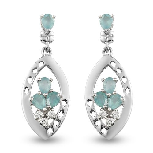 AAA Grandidierite and Natural Cambodian Zircon Dangling Earrings (with Push Back) in Platinum Overla