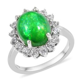 Green Ethiopian Opal (Ovl 2.40 Ct), Natural Cambodian Zircon Ring in Platinum Overlay Sterling Silve