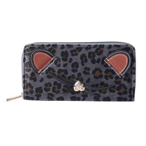 Grey Leopard Pattern with Ears and Nose Details Clutch Wallet (Size 19.5x3x9.5cm) with Zipper Closur