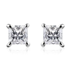 RHAPSODY 0.20 Ct Diamond Princess Cut Solitaire Stud Earrings in 950 Platinum IGI Certified VS EF wi