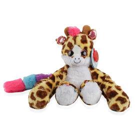 25cm Huggems Beige, Dark Brown and Multi Colour spots and pink tuft of hair - Giraffe