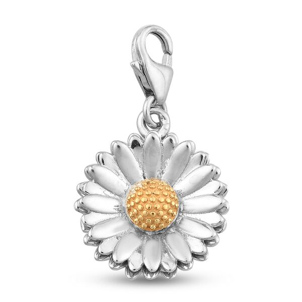 Daisy April Birth Flower Charm in Platinum and Gold Plated Sterling Silver