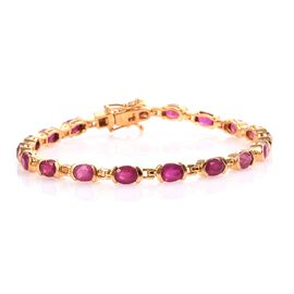 Super Auction-African Ruby (Ovl) Bracelet (Size 7.5) in 14K Gold Overlay Sterling Silver 11.50 Ct, S
