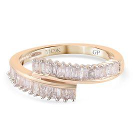 GP 9K Yellow Gold SGL Certified Diamond (I3/G-H) and Kanchanaburi Blue Sapphire Bypass Ring 0.52 Ct.