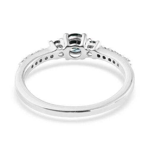 9K White Gold Blue and White Diamond (Rnd) Ring 0.400 Ct.