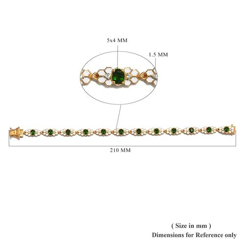Russian Diopside and Natural Cambodian Zircon Enamelled Bracelet (Size 8) in 14K Gold Overlay Sterling Silver 5.23 Ct, Silver wt 16.25 Gms