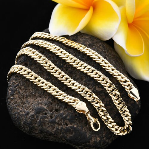 Royal Bali Collection - 9K Yellow Gold Curb Necklace (Size 18) with Lobster Clasp, Gold wt 12.60 Gms