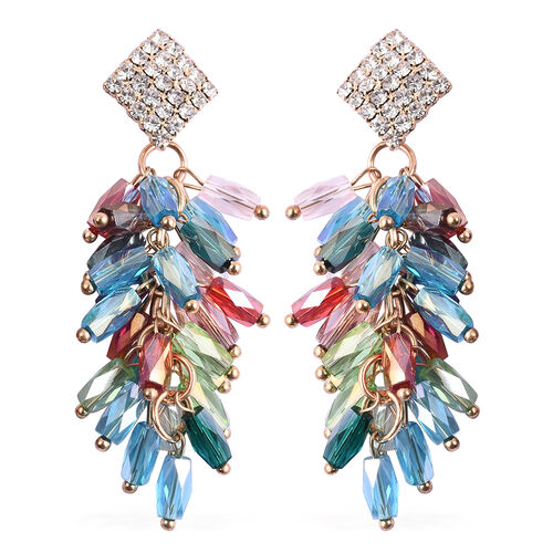 Simulated Multicolour Diamond, White Austrain Crystal Dangling Earrings (with Push Back) in Gold Ton