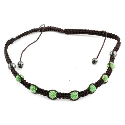 Peridot Austrian Crystal and Hematite Adjustable Necklace