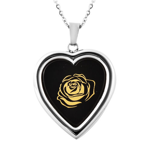 Black Agate Rose Pattern Heart Shaped Pendant with Chain (Size 20) with Magnifying Glass Tool in Sta