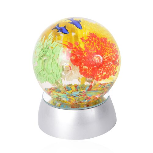 Home Decor - Flower and Fish Pattern Crystal Ball with Colour Changing LED (Red, Yellow and Blue) Silver Colour Base (Size 8.5x3.5 Cm)