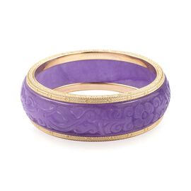 Carved Purple Jade Bangle (Size 7.75) in Yellow Gold Plating Sterling Silver 328.010 Ct, Silver wt 2